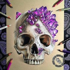 """Repost from @adbettley   CRYSTAL SKULL  Crystal skull finally finished! Prismacolour and Caran d'Ache Pencils on strathmore toned tan paper.  PRINTS ON SALE NOW! 8x11"""" prints are available (LINK IN BIO) with worldwide shipping available   Thanks again for the Reference image: @jackofthedust go check out some more of his awesome skull pieces on his IG and his website jackofthedust.com.au!! #drawing #skullart #skulls #draw #photooftheday #picoftheday #drawingoftheday #cre8hype #sketch…"""