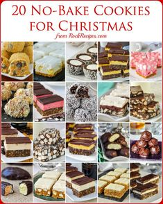 No Bake Christmas Cookies - 15 easy recipes that are freezer friendly too! No Bake Christmas Cookies - 15 easy recipes that are freezer friendly too! A collection of popular no bake cookies that are perfect for Christmas treats. Mini Desserts, Christmas Desserts, Christmas Treats, No Bake Christmas Cookies, Christmas Foods, Chocolate Desserts, Oreo Dessert, Rock Recipes, Easy Recipes