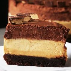 Chocolate Peanut Butter Mousse 'box' Cake Recipe by Tasty Peanut Butter Oatmeal Bars, Keto Peanut Butter Cookies, Peanut Butter Mousse, No Bake Cookies, Chocolate Peanut Butter, Chocolate Pie Filling, Chocolate Trifle, Chocolate Pies, Box Cake Recipes