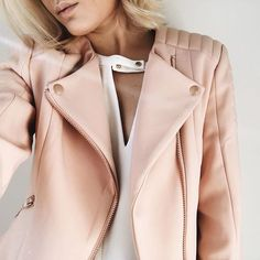 Blush Moto jacket with rose gold details by Acne Studios. NEED in my life.