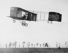 Houdini, the magician, airborne in his Voisin at Diggers Rest, 1910, by Marcel Poupe
