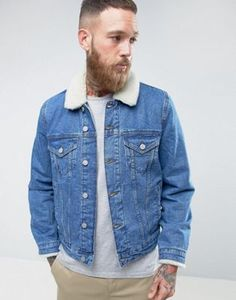 ASOS – Jeansjacke mit Borg-Kragen in mittlerer Waschung Latest Outfits, Latest Fashion Clothes, Fashion Outfits, Mens Fashion, Asos Online Shopping, Online Shopping Clothes, Online Shop Kleidung, Asos Mode, Mode Online Shop