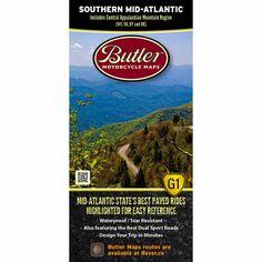 Southern Mid-Atlantic States G1 map – Butler Motorcycle Maps Mid Atlantic States, Ducati Cafe Racer, Motorcycle Travel, Dual Sport, Appalachian Mountains, San Pellegrino, Us Map, Northern California, West Virginia