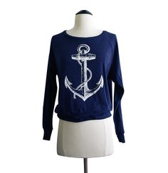ANCHOR Raglan Sweatshirt - Nautical Sailor Sweater American Apparel SOFT vintage feel - Available in sizes S, M, L. $25.00, via Etsy.