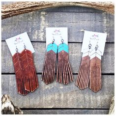 "Which color ""Chevron"" Free Bird Leather Fringe Earrings would you choose? Tan, Turquoise, White Linen?"