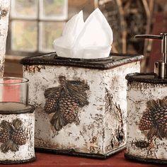 Pinecone & Birch Tissue Box