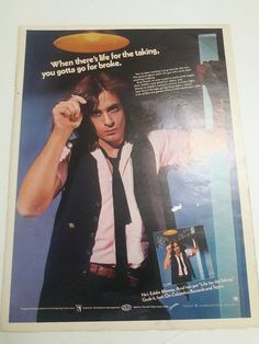 Eddie Money Music Ad Life Is For Taking Hit Album Full Page Color Advert