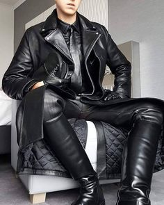 Any kinds of Leather gears Mens Leather Blazer, Mens Leather Coats, Long Leather Coat, Leather Jacket Outfits, Black Leather Pants, Leather Jackets, Men's Leather, Leder Outfits, Leather Fashion