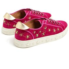 Aquazzura Cosmic Star embellished suede trainers (£515) ❤ liked on Polyvore featuring shoes, sneakers, aquazzura shoes, embellished shoes, suede sneakers, structure shoes and suede trainers