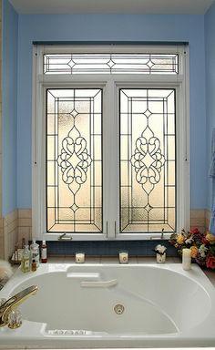Stained Glass Bathroom Window & Transom
