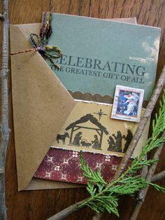 Rustic Nativity Christmas card handmade by CardsinStock on Etsy, $5.00