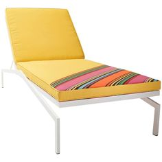 Love the detil of fabric on an angle and the sunny yellow too for outdoors.   For Sale on 1stdibs - This outdoor set was created as a nod to Trevor and Courtney (Post & Gleam's owner/designers) 1964 Eichler home. The angles of the lounge chair and side