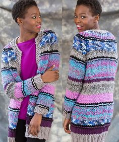 Free Knitting Pattern for Long Striped Cardigan - #ad Sweater lets you mix different colors of yarn including multi-color and self-striping. Great stash buster. Quick knit in super bulky yarn.  tba