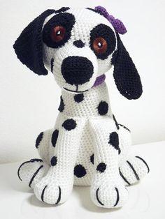 Crochet Pattern Damlatian Buffy Amigurumi PDF White Dog Black
