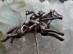 Large Size Silver Jockey and Race Horse Stick Pin, Unsigned, Great Detail, Sterling or High Content Silver by postGingerbread on Etsy