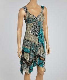 Look what I found on #zulily! Teal & Beige Abstract Sleeveless Dress - Women #zulilyfinds