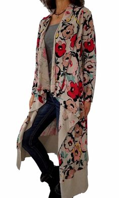 327b2fb160 SPARROW ANTHROPOLOGIE L Large floral print duster length hi-lo cardigan  sweater  AnthropologieSparrow