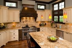 tuscany maple kitchen cabinets | Beautiful Tuscany Maple Cabinetry with Golden Sparkle Granite and ...