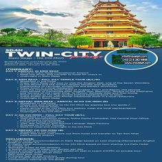5 DAYS TWIN CITY SIEM REAP - HO CHI MINH PACKAGE (Land Arrangement Only) Minimum of 2 persons  For more inquiries please call: Landline: (+63 2) 8 282-6848 Mobile: (+63) 918-238-9506 or Email us: info@travelph.com #Cambodia #Vietnam #TravelPH #TravelWithNoWorries Siem Reap, Ho Chi, Twin Cities, Cambodia, Vietnam, Twins, Two By Two, City, Cities