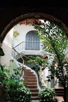 Green courtyard.