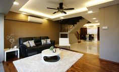 HDB Mansionette - HDB Executive Apartment - Living Room. Design by Lux Design Pte Ltd