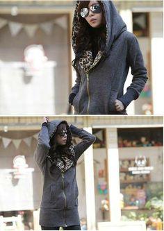 Beautiful Korean Style Leopard Long Hoodie: tidestore.com