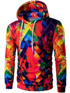 $17.79 Abstract Print Colormix Pullover Hoodie
