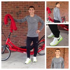Nick looks nice in Nike! What he's wearing: Dri-Fit Knit Long Sleeve, Element Half Zip, Track Pant, Zoom Pegasus *ElliptiGO sold seperately. Cool Nikes, Nike Stuff, Gifts For Runners, Superfly, Cherry Red, Pegasus, How To Look Better, Autumn Fashion, Track