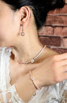 Bridal earrings bracelet necklace set Bridal jewelry set bridesmaid earrings wedding rhinestone crystal earrings vintage rose gold bridal ♥ necklace : choker style 15 to 18 in adjustable , full strand of crystal . Necklace can be made shorter or longer upon request , any size no extra #bridalsets #bridaljewelrybracelet
