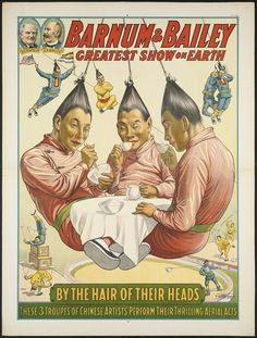 Barnum & Bailey greatest show on earth  <b>Title: </b>Barnum & Bailey greatest show on earth : By the hair of their heads  Created/Published: </b>Cincinnati ; New York : The Strobridge Litho. Co.Date issued: 1916   Physical description:print : lithograph, color ; 102 x 77 cm.  Genre: Circus posters; Lithographs   Subjects: Barnum and Bailey; Circuses & shows; ...