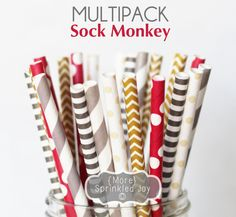 SOCK MONKEY Paper Straws Multipack Chevron by MoreSprinkledJoy