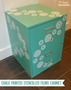 Upgrade a boring & basic filing cabinet with paint and stencilling - see the tutorial for a Chalk Painted Stencilled Filing Cabinet at The Happy Housie
