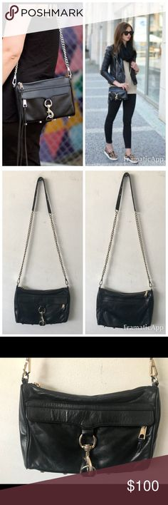 """Rebecca Minkoff Mini MAC Crossbody Bag $295 Rebecca Minkoff Mini MAC Crossbody Bag $295   Interior is clean and pristing- leather is in great condition with no scratches or marks. Leather tassel has been cut from zip pulls  * 11"""" L x 2"""" D x 8"""" H with a 21"""" drop chain strap * Genuine leather * Custom light gold hardware * Exclusive lining Rebecca Minkoff Bags Crossbody Bags"""