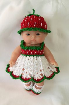 Berenguer itty bitty Lots to Love Reborn Doll Clothes Clothing - 5 inch Berenguer Doll Outfit -  Strawberry Doll Dress. Hand crocheted outfit ready to buy.