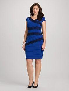 Plus Size Tiered Lace Trim Dress | Dressbarn