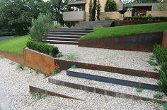 Exactly what I have in mind for outdoor steps! via Decoist Garden Art, Garden Design, Arizona Gardening, Outdoor Steps, Highland Homes, Red Sun, Modern Landscaping, Outdoor Rooms, Outdoor Living
