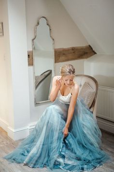 Blue wedding dresses and dresses with blue accents 2020 Tulle Wedding Skirt, Blue Wedding Gowns, Minimalist Wedding Dresses, Wedding Dresses With Flowers, Colored Wedding Dresses, Dream Wedding Dresses, Flower Dresses, Bridal Dresses, Dress With Flowers