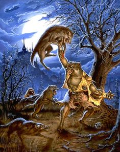 Illustration, animation and art direction by Patrick McEvoy. Fantasy, Science-fiction, horror and comics. Werewolf Vs Vampire, Werewolf Art, Horror Comics, Horror Art, Fantasy Creatures, Mythical Creatures, Dark Fantasy, Fantasy Art, Arte Dope