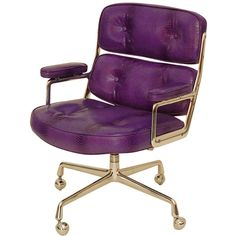 Eames Time Life Chair ❤ liked on Polyvore featuring home, furniture, chairs, office chairs, purple office chair, purple furniture, purple chair and purple desk chair