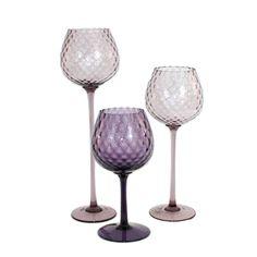 SET 3 HUGE Vintage Italian Empoli Optic Glass Goblet Vases Violet Lilac  | eBay