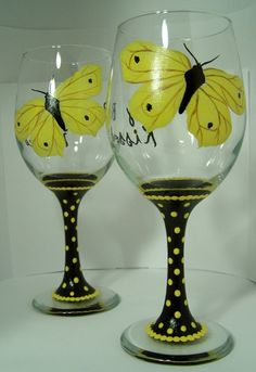Butterfly Kisses Wine Glass by GranArt on Etsy, $18.00