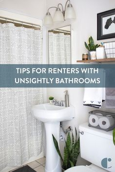 10 Ways to Love Your Rental Bathroom 2019 Apartment bathroom obstacles can be frustrating but dont lose faith! Discover how to hide an ugly shower door really remove soap scum and more! solutions bathro The post 10 Ways to Love Your Rental Bathroom 201 Bathroom Shower Curtains, Shower Doors, Bathroom Flooring, Bathroom Cabinets, Bathroom Beadboard, Shower Rod, Restroom Cabinets, Diy Shower, Laminate Flooring