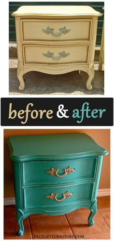 Turquoise French Provincial Nightstand - Before & After - Facelift Furniture