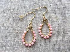 Earrings / Øreringe. Salmon dangle earrings made of brass and gemstone. www.bulowssmykker55.amioamio.com