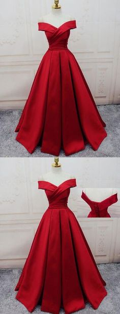 Gorgeous Red Prom Dress,Stain prom Dress,Off Shoulder Prom
