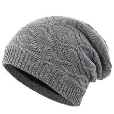 92d051a3572 Mens Thick Slouchy Knit Beanie Hat Lined Warm Winter Hats Watch Cap - Grey  - C2186U3WZ9Y