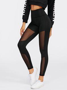 SweatyRocks Women's Stretchy Skinny Sheer Mesh Insert Workout Leggings Yoga Tights Mesh Leggings, Cute Leggings, Baby Leggings, Workout Leggings, Printed Leggings, Leggings Sale, Cheap Leggings, Mesh Pants, Knit Leggings