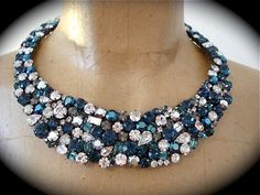 Dark Blue Statement Necklace - The Crystal Rose