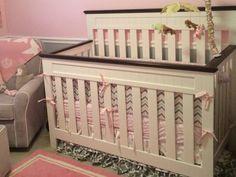 Pink Chevron Crib Set, Pink Girl Crib Bedding Set, Gray Chevron Crib Bumper
