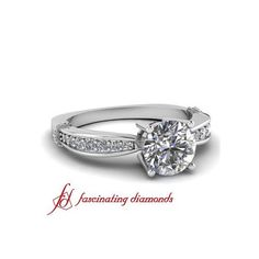 Pave Set Round Cut Diamond Tapered Engagement Ring With Round Side... ($1,579) via Polyvore